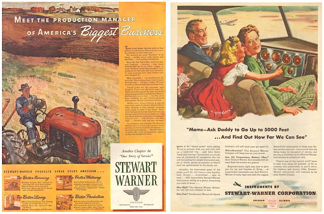 Stewart Warner 1944 ads