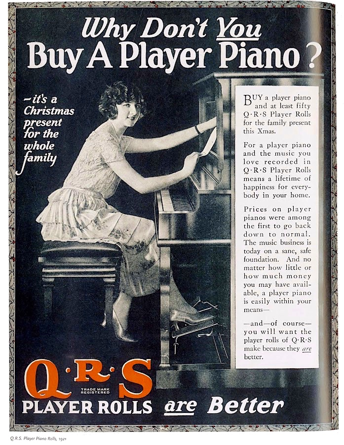 QRS Music Roll ad 1921