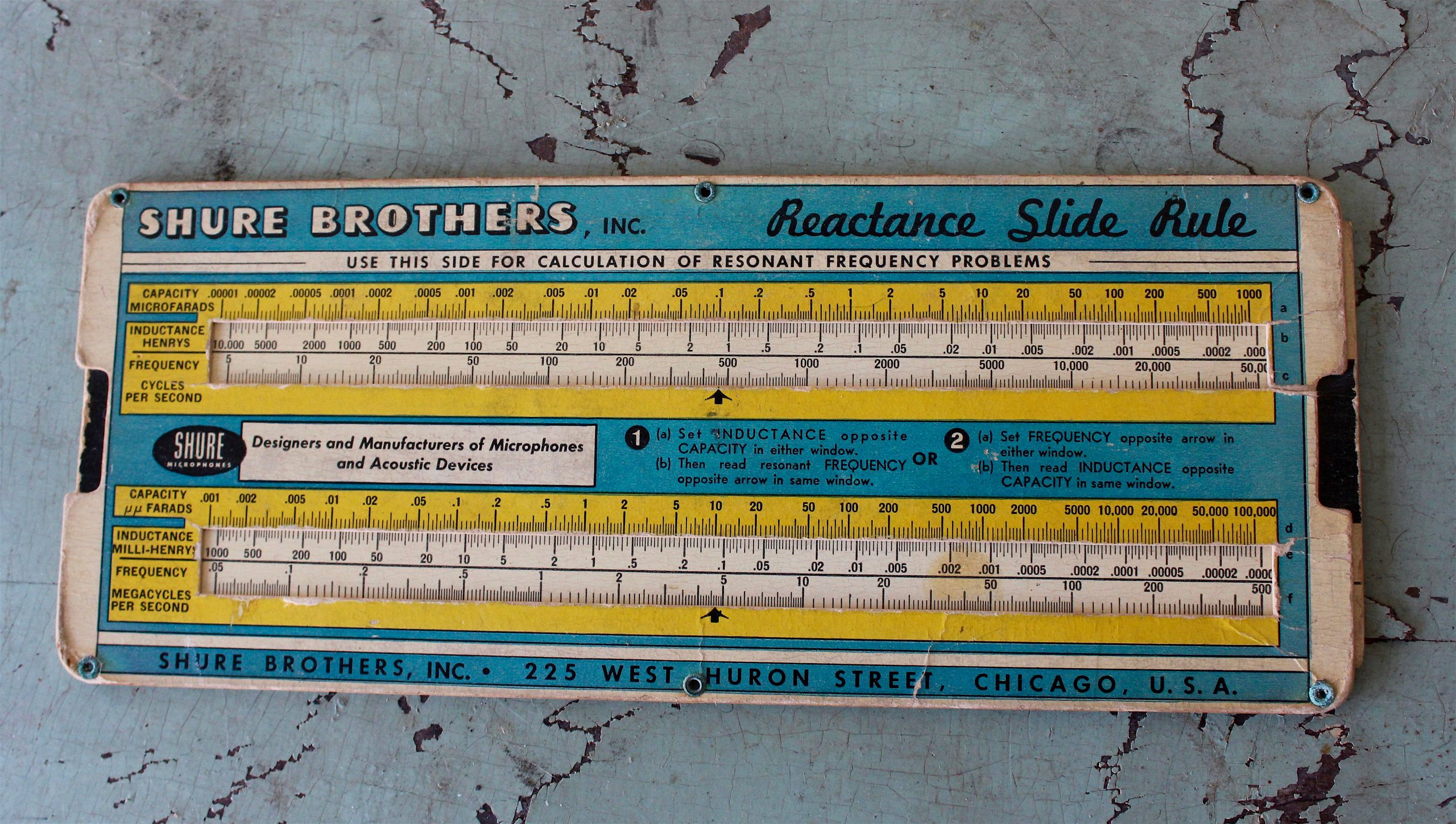Reactance Slide Rule by Shure Brothers, Inc., c. 1940s