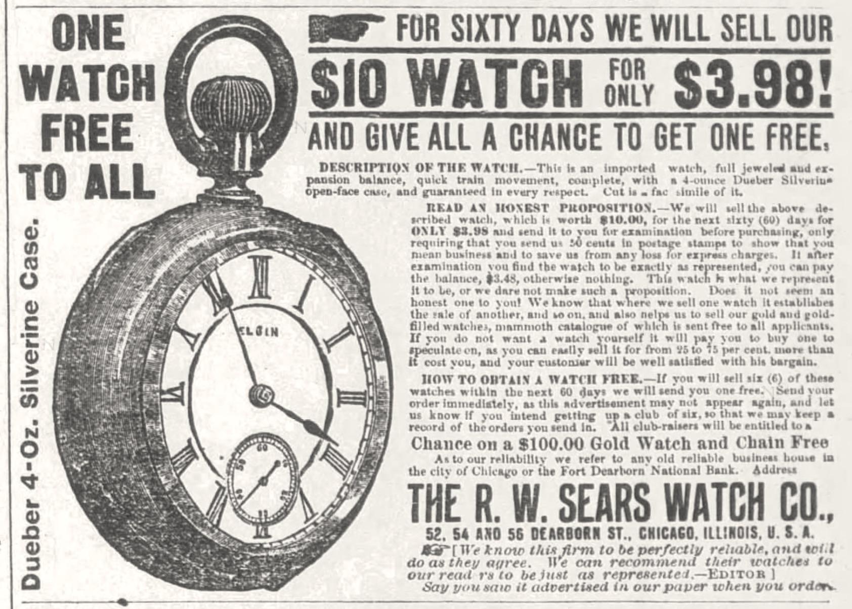 Sears 1888 watch ad