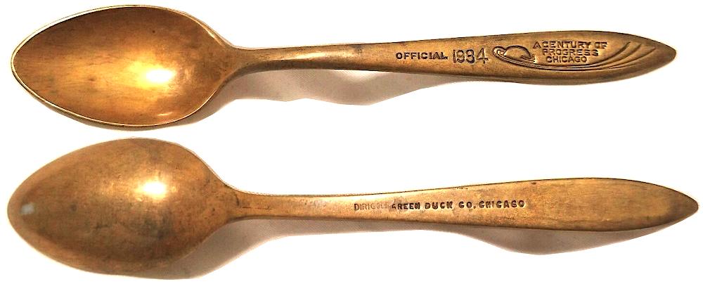 Green Duck World's Fair spoons 1934
