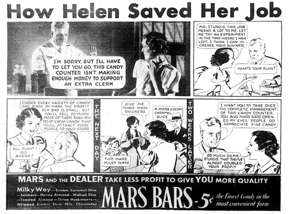 1933 Mars Bars ad