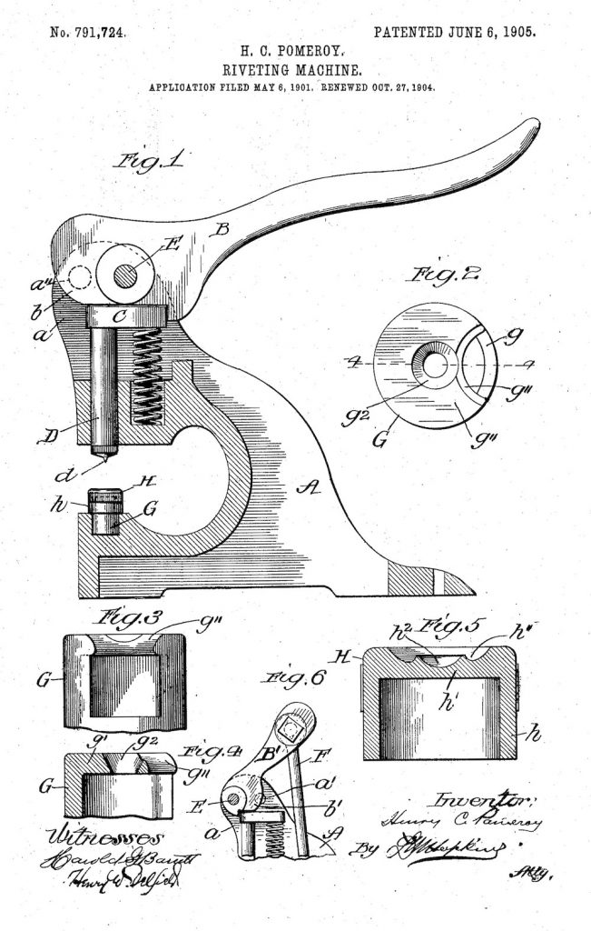 Pomeroy Riveting Machine patent 1905
