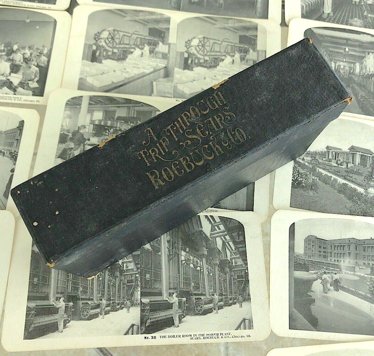 Sears stereoview cards and box